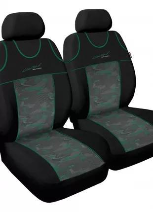 Чехол Sport Line черный с зелеными вставками на передние сидения