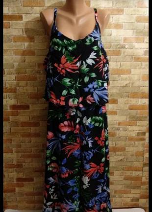 Натуральное макси платье цветочный принт штапель 28/60-64 размера