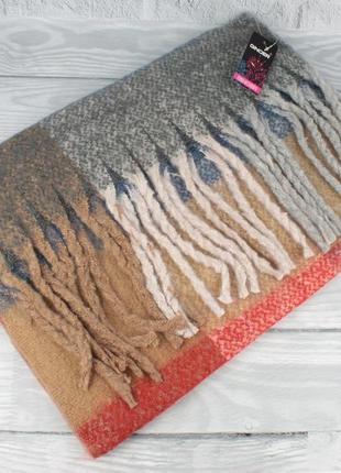 Объемный мохеровый шарф-плед, палантин ginoer 7780-2 клетка, р...