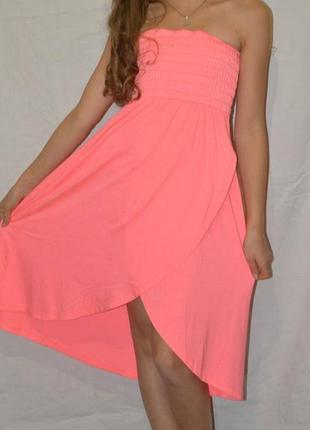 Неоново розовое пляжное платье, юбка на запах