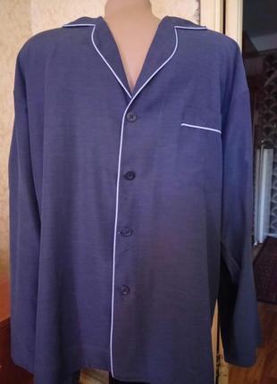 💞🌙хлопковая рубашка для сна синий меланж с длинным рукавом м.р...