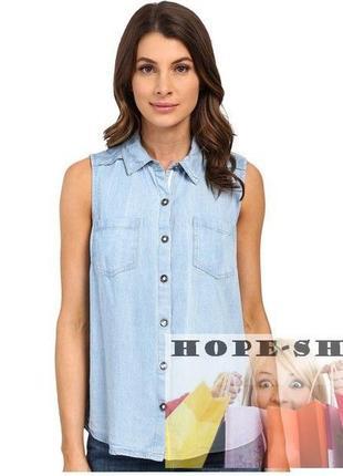 👚женская голубая рубашка без рукавов 12.распродажа.