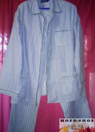 🌙мужская ,тёплая ,полосатая пижама на пуговицах с брюками.l/xl