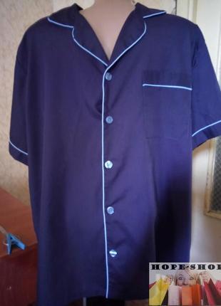 🌙тёмно синяя рубашка для сна с коротким рукавом м.распродажа.