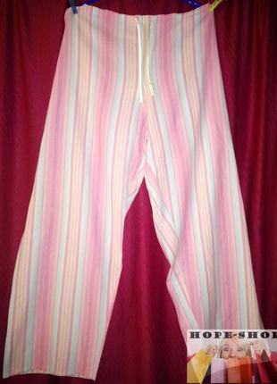 Домашние пижамные брюки белые в полоску 18