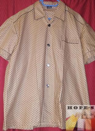 🌙светло коричневая,принтованная  рубашка для сна с коротким  р...