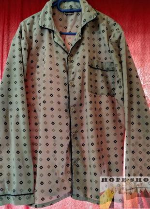 🌙серая принтованная рубашка для сна с длинным рукавом