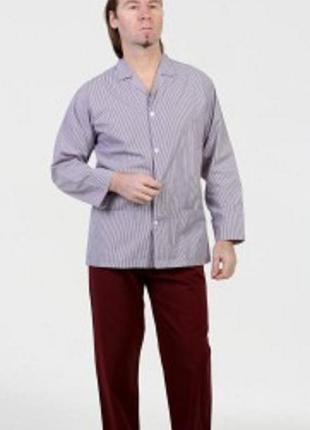 💞мужская пижама сборная на пуговицах с брюками.52/54