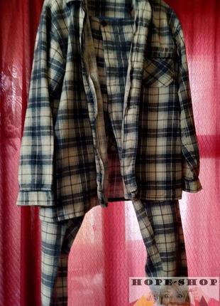 🌙мужская ,тёплая ,в клетку пижама на пуговицах с брюками