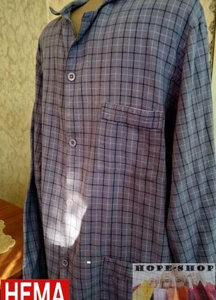 Байковая в клетку рубашка для сна с длинным рукавом 46/48