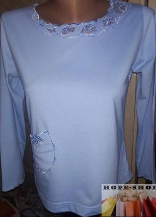Трикотажная домашняя голубая футболка,рубашка для сна с длинны...