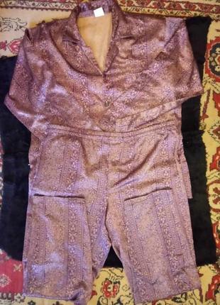🌙мужская атласная принтованная пижама на пуговицах с брюками.4...