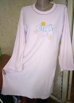 Домашнее махровое  платье,ночная рубашка,сорочка с длинным рук...