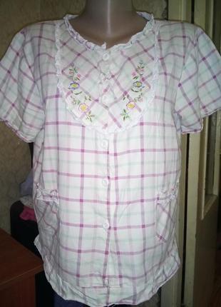 💞уютная пижамная кофта в клетку ,домашняя рубашка 10/12.распро...