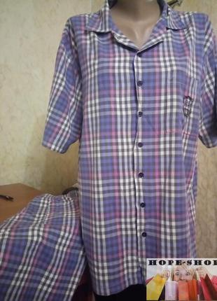 💞🌙мужская бомбезная клетчатая пижама на пуговицах с длинными ш...