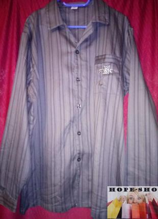 🌙тёмно серая,в полоску рубашка для сна с длинным рукавом  на в...