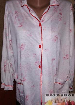 Трикотажная белая  принтованная домашняя рубашка,рубашка для с...