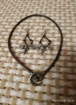 Кожаное ожерелье, колье подвеска набор сережки