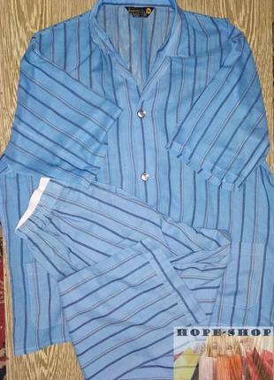 💞🌙мужская летняя пижама на пуговицах с брюками голубая в полос...