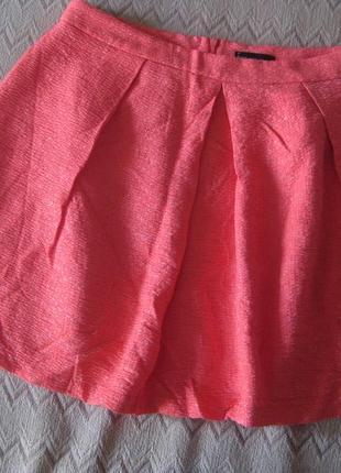 Юбка sora by jbc розовая коралловая оранжевая фактурная фасон ...