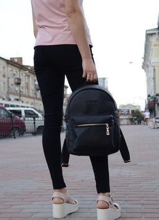 Черный городской рюкзак эко кожа женский