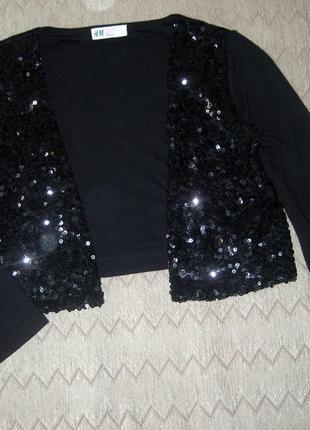 Джемпер кофточка для девочки накидка h&m чёрная пайетки блестя...