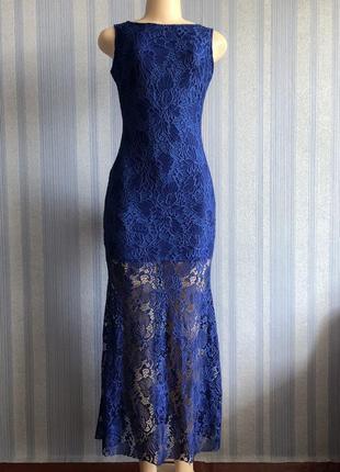 Шикарное женское вечернее синее гипюровое длинное платье размер s