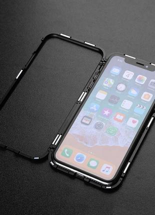 Металлический противоударный магнитный чехол для iPhone Х/XS