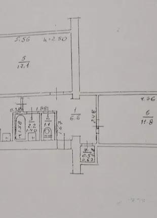 2-комнатная квартира. Кирпичный дом.