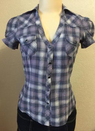 Женская синяя рубашка блуза в клетку размер xs