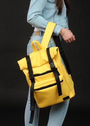 Желтый рюкзак эко кожа