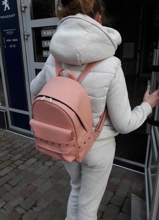 Пудровый розовый рюкзак эко кожа
