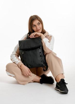 Черный рюкзак эко кожа