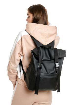 Черный рюкзак ролл эко кожа