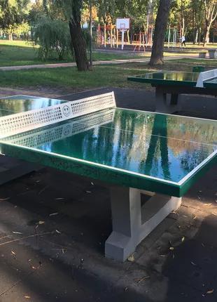 Всепогодный теннисный стол из бетона