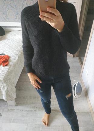 Теплый базовый свитер воротник стойка