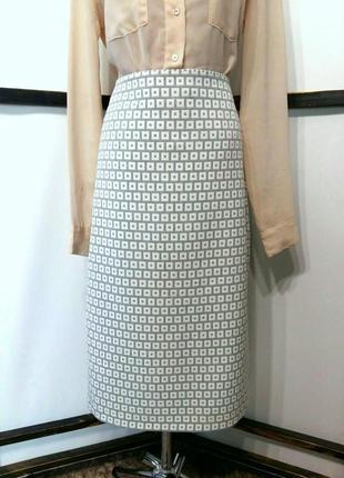 Нарядная офисная прямая юбка миди бренд marks&spencer m&s