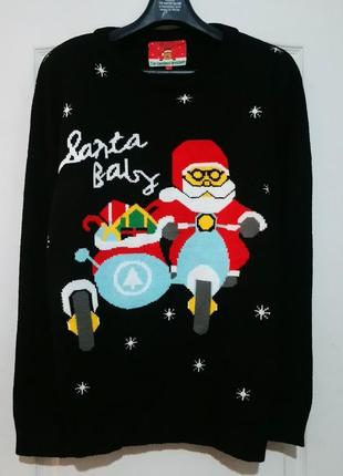 Новогодний свитер. санта с подарками на мотоцикле