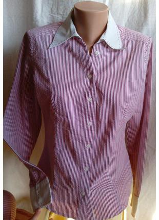 Рубашка в рожеву полоску женская