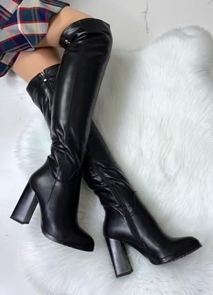 ❤ женские черные зимние  высокие  сапоги ботфорты полусапожки ...