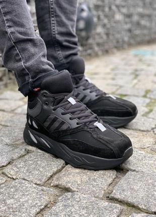 ✳️зимние✳️ мужские ботинки adidas, чёрные кроссовки адидас с м...