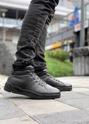 💎кожаные ботинки gross💎мужские чёрные с мехом.