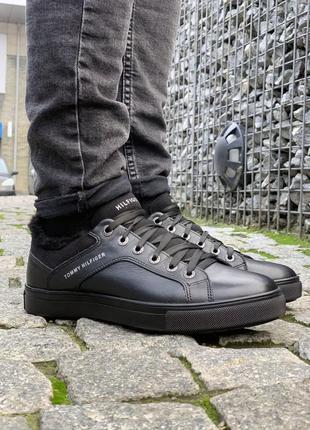 ✳️кеды/кроссовки tommy hilfiger✳️зимние мужские кожаные чёрные...
