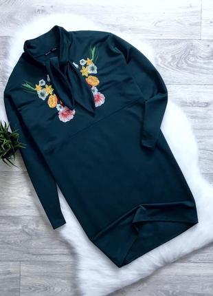 Платье бойфренд с вышивкой zara