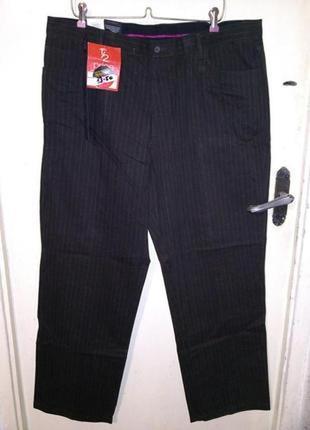 Новые-с бирками,натурал.,коричневые в полоску джинсы-брюки,40/...
