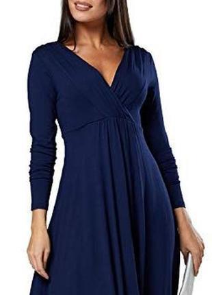 Нарядное темно-синие платье под пояс польша