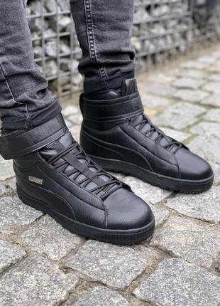 🔷puma black winter🔷мужские кожаные зимние чёрные кроссовки/бот...