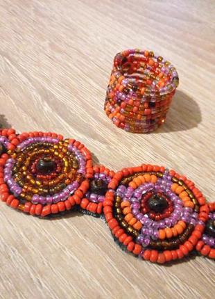 Новый набор браслет и кольцо в стиле бохо, из бусин, из бисера