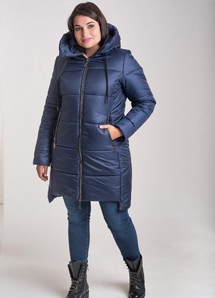 Зимняя женская куртка большого размера до 64