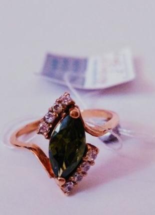 Золотое кольцо 585 пробы с зелёным топазом и фианитами 2,37г. ...